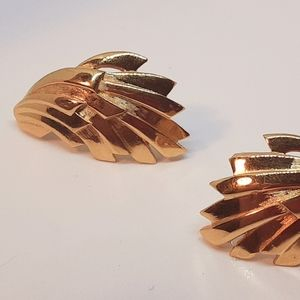 Givenchy Gold Tone Abstract Pierced Earrings 1.5""